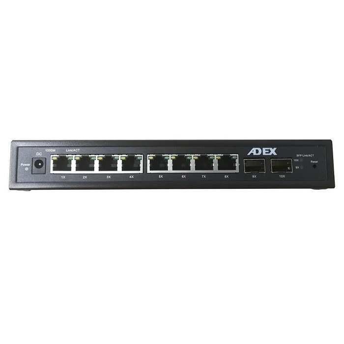 ADEX AD1000-8GPDM-2FM Reverzní PoE Switch 8x Gbit Port, 2xSFP, Web Managed, Metal