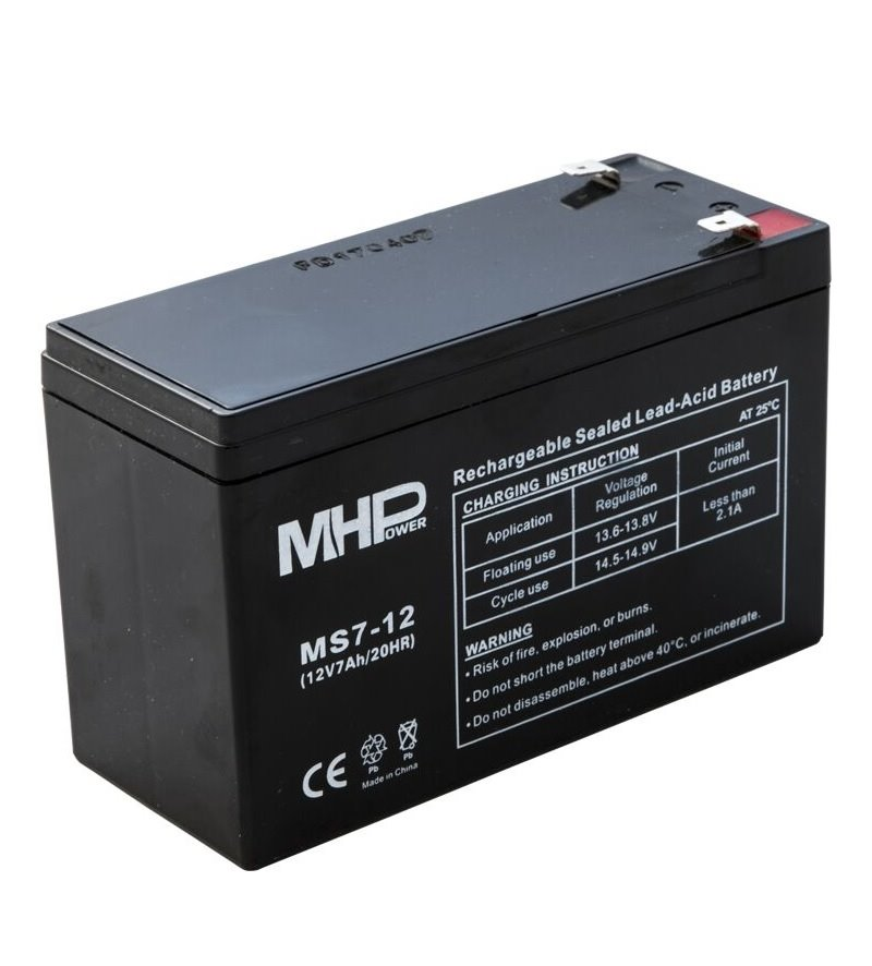MHPower MS7-12 olověný akumulátor AGM 12V/7Ah, Faston F2 - 6,3mm