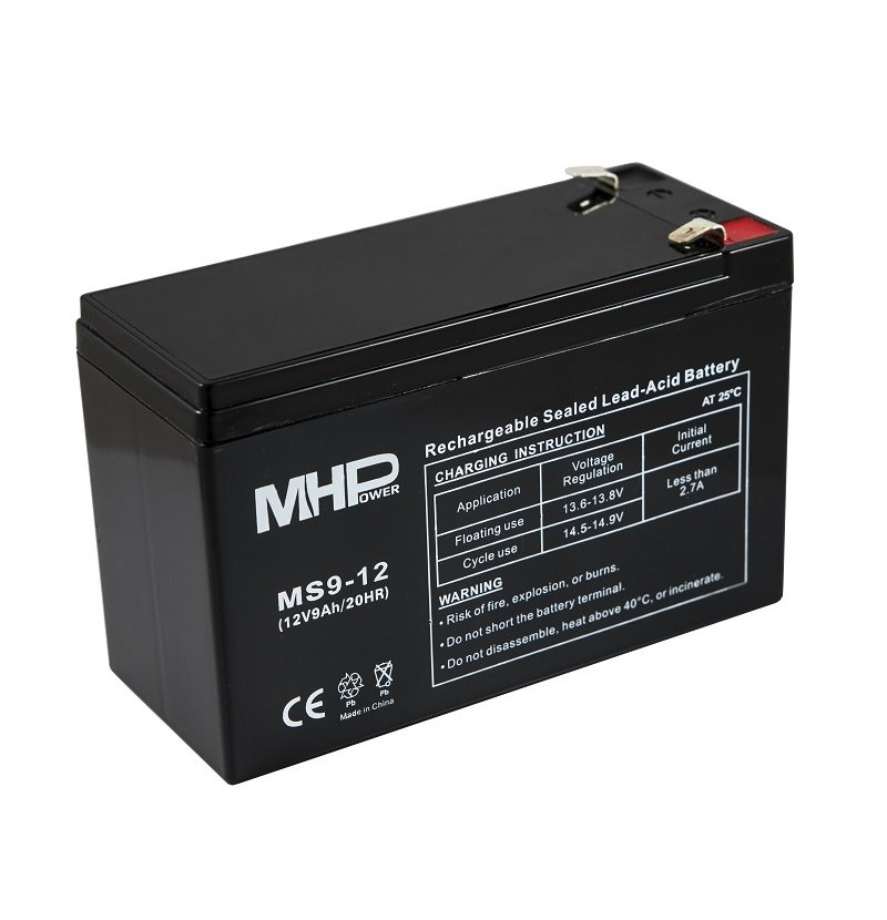 MHPower MS9-12 olověný akumulátor AGM 12V/9Ah, Faston F2 - 6,3mm
