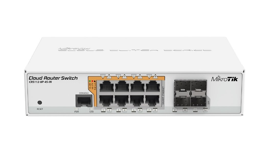 MikroTik Cloud Router Switch CRS112-8P-4S-IN with QCA8511, 128MB, 8xGLAN w PoE-out, 4xSFP, OS L5, desktop case, PSU