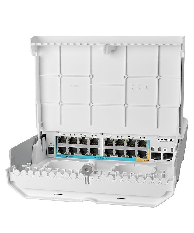 MikroTik CRS318-1Fi-15Fr-2S-OUT - netPower 15FR reverzní POE switch