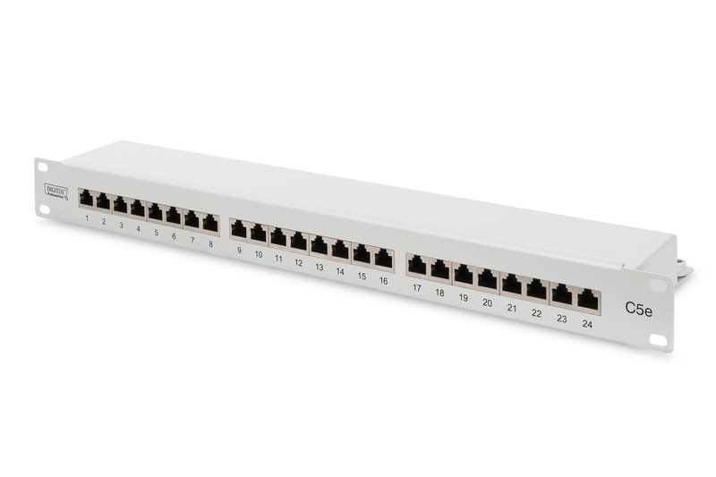Patch panel DIGITUS 19'' 24 portů Cat5E, stíněný, 1U, šedý
