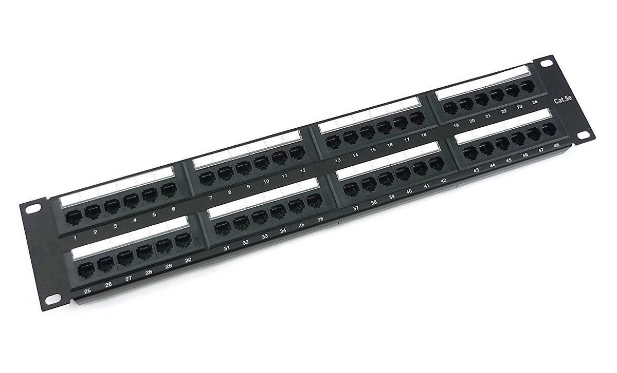 Patch panel UTP cat.5e 48p 2U Black