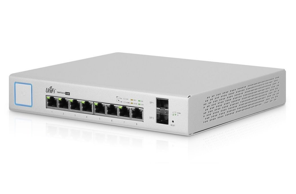 Switch Ubiquiti Networks UniFiSwitch US-8-150W - 8x GLAN, 2x SFP, POE+, 150W, rackmount